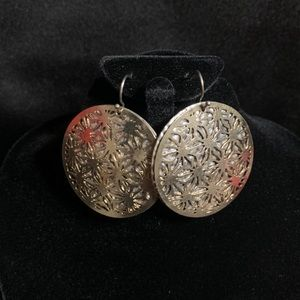Costume silver and gold metal disc earrings